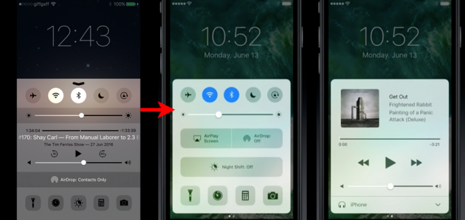 iOS's re-designed Control Center. Left: iOS 9. Middle: How it looks in iOS 10... it now 'floats' so you can swipe across to get at the music player (right) as a standalone panel with larger, more user-friendly controls.